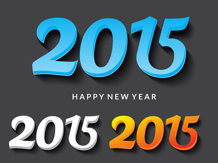 happy new year text: happy new year 2015 text vector illustration