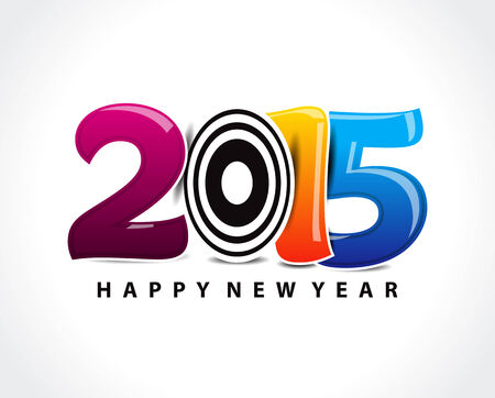 1 january: colorful happy new year 2015 text vector illustration