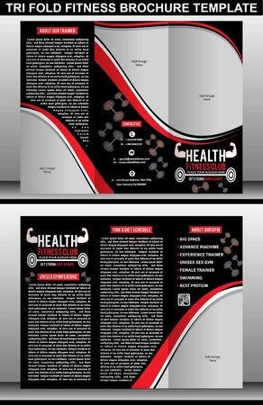 fitness center: TRI FOLD FITNESS BROCHURE TEMPLATE vector illustration