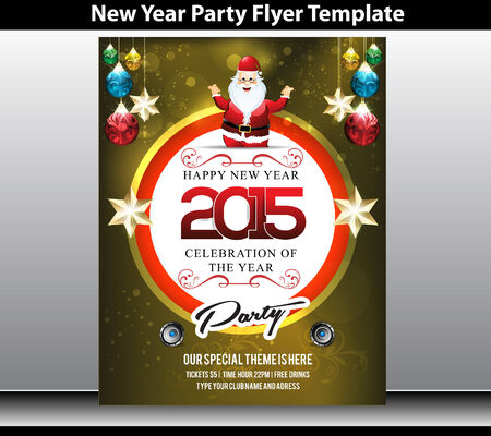 1 january: new year party flyer template vector illustration Illustration