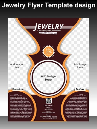 Tri Fold Jewlery Brochure Template Vector Illustration Royalty Free