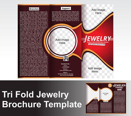 jewlery: Tri Fold Jewlery Brochure Template vector illustration