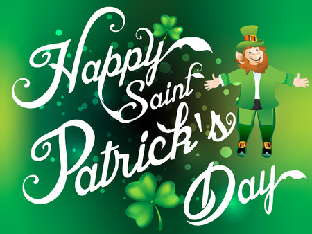 Happy Saint Patircks Day  Background  with Leprechaun Cartoon Illustration