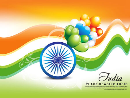 indian Republic Day wave Background vector illustration Vector