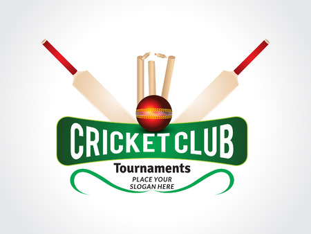 cricket stump: abstract crciket background with ball & bat vector illustration