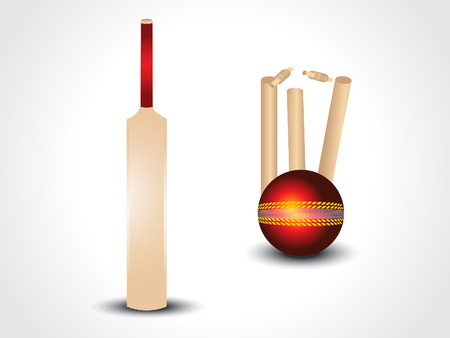 cricket stump: vector cricket bat & ball with stumps vector illustration