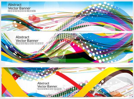 advertising network: colorful wave banner wave background vector illustration