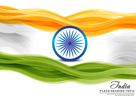 independence day: indian flag wave background vector illustration