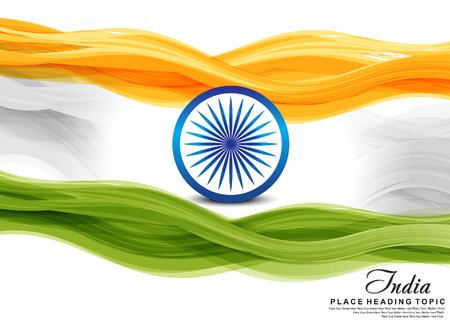 independencia: ola bandera india ilustraci�n vectorial