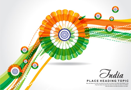 vector illustration republic day wave background Vector
