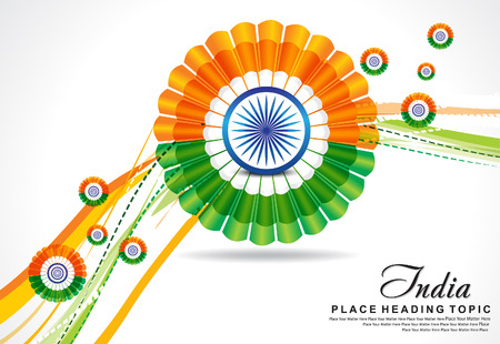 asoka: indian republic day wave background with flower vector illustration Illustration