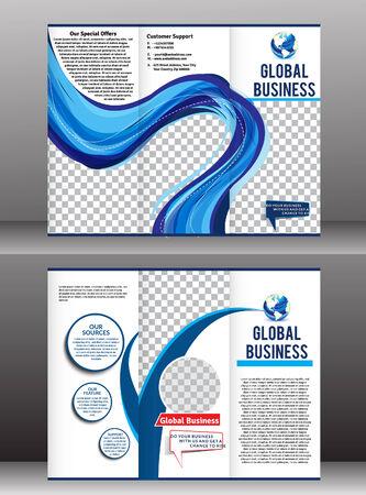 globális üzleti: tri szeres globális üzleti kiadvány vektoros illusztráció