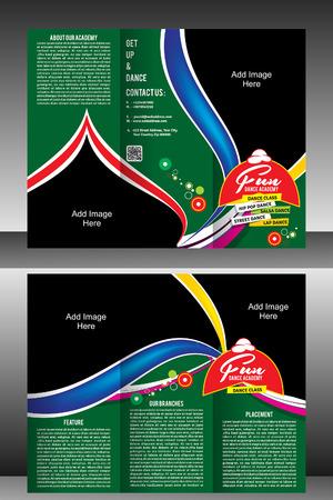 tri fold: tri fold dance Academy brochure template vector illustration