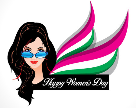 brown hair blue eyes: happy womans day background with vector women cartoon