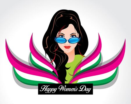 womans day: happy womans day background with wave vector illustration Illustration