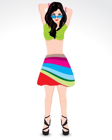 showgirl: modern girl cartoon vector illustration