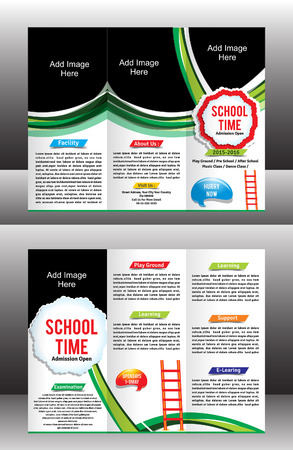 rack: tri fold school brochure template vector illustration