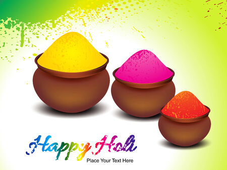 happy holi background with colors pot vector illustration