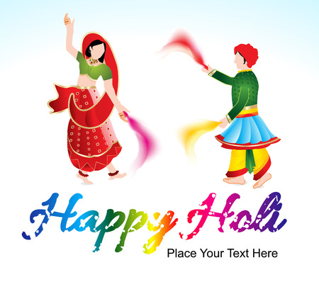 dhulandi: happy holi background with traditional indian couple vector illustration Illustration