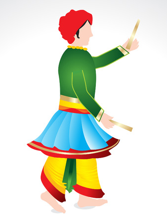 Traditional indian man playing dandiya vector illustration Çizim