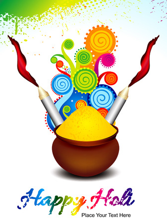 happy holi background with explode magical wave vector illustration Vector