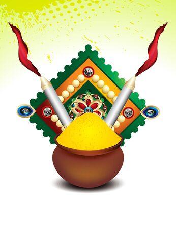 rangoli: happy holi background with rangoli and color pot vector illustration