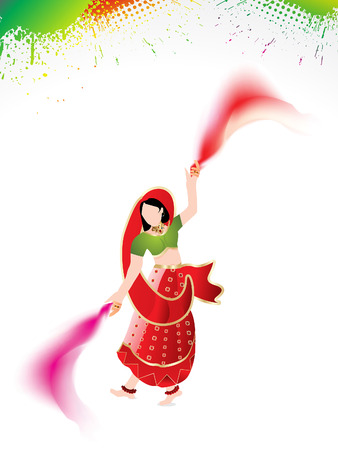 rang: holi background with traditional girl vector illustration