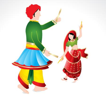 copule: Traditional indian copule playing dandiya vector illustration