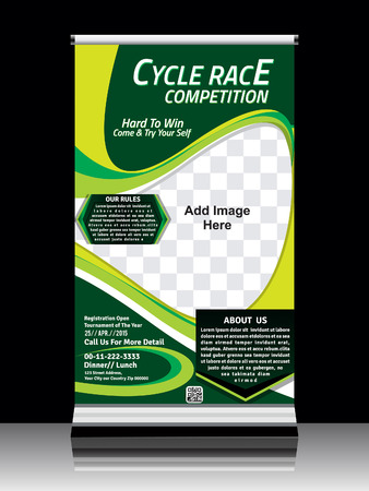 cycle race: Cycle race roll up template design vector illustration