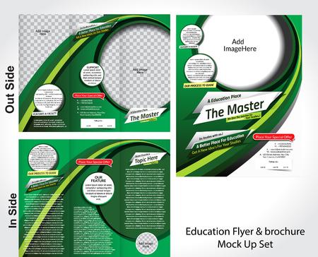 abstract academic: Education Flyer & Brochure Mock Uo Set vector illustration