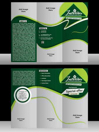 interior designer: tri fold interior designer brochure vector illustration