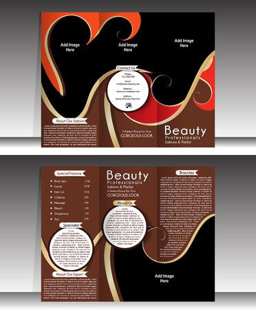 salon beaut�: Tri Pliez Template Beauty Parlor Brochure