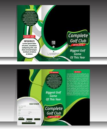 tri fold: tri fold golf brochre template vector illustration