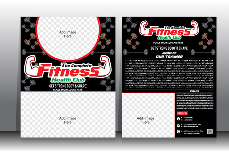 fitness center: Fitness Flyer &  Brochure Template vector illustration