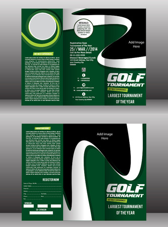 tri fold: tri fold golf brochure & flyer template vector illustration