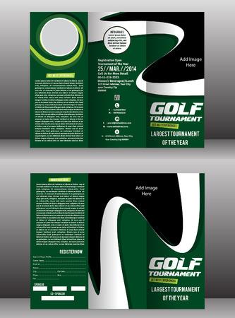 tri fold: tri fold golf brochure & flyer template vector illustration