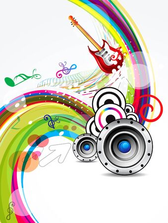 rainbow background: abstract summer background with muscial instrument vector illustration Illustration