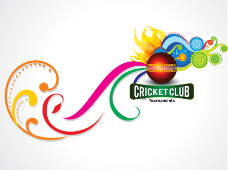 cricket stump: colorful cricket background with magical wave vector illustration Illustration
