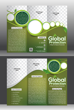 tri fold: tri fold global protection brochure vector illustration