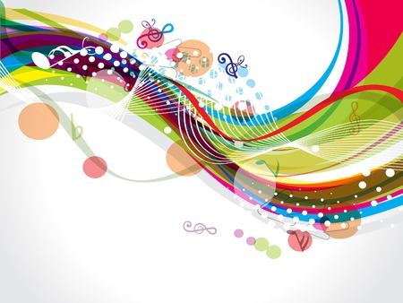 celebrate life: colorful wave background with musical notes vector illustration
