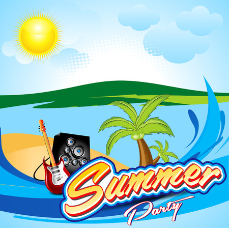 discoteque: abstract colorful summer backgound with water wave Illustration