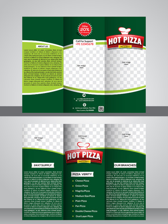 rollover: Tri fold pizza store brochure template design vector illustration Illustration