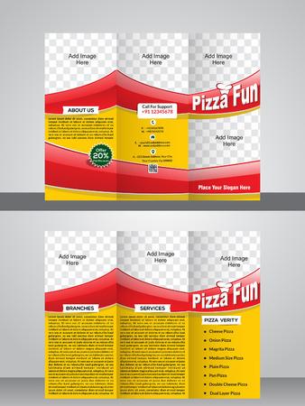 tri fold: tri fold pizza brochure template vector illustration Illustration