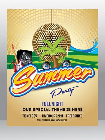 discoteque: Summer Background Flyer Template Design Vector illustration