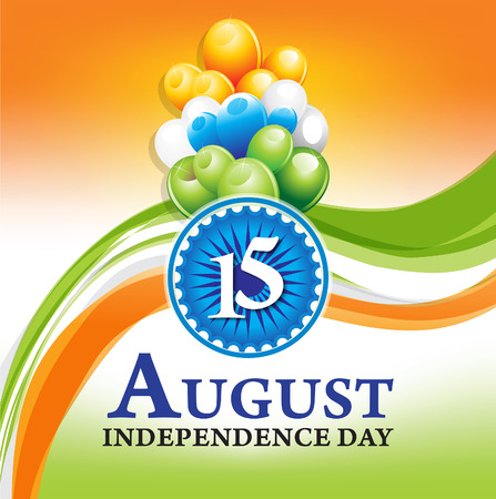 independence day: indian independence day wave background with balloon Illustration