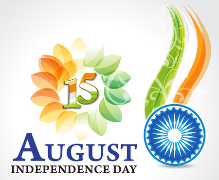indian independence day background with ashok chakra Vector