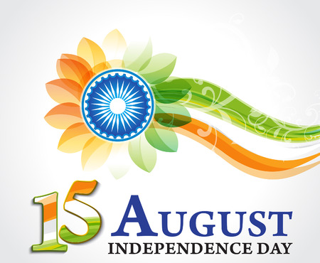 indian independence day background with wave vector illustration Vector