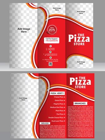 tri fold: tri fold pizza brochure template design vector illustration