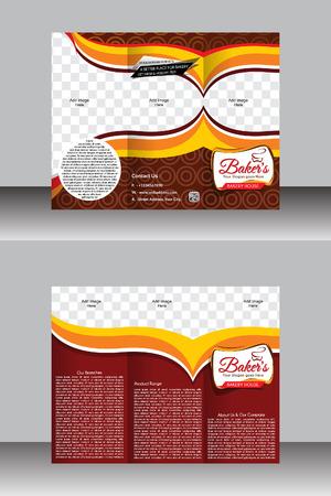tir fold bakery brochure template design vector illustration