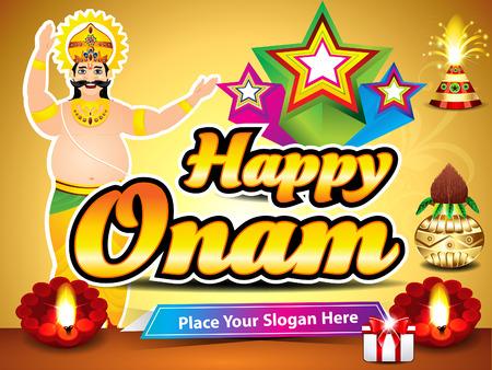 malayalam: happy onam background with king mahabali vector illustration